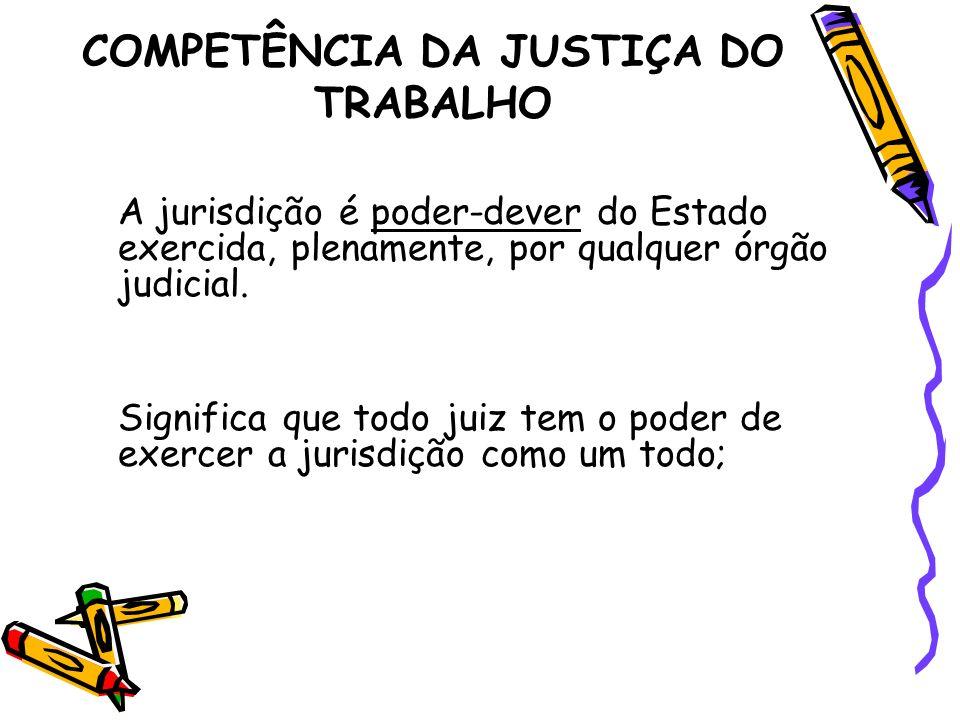 COMPETÊNCIA DA JUSTIÇA DO TRABALHO A jurisdição é poder-dever do Estado exercida, plenamente, por qualquer órgão judicial. Significa que todo juiz tem