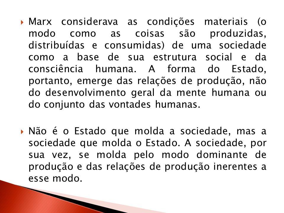Marx considerava as condições materiais (o modo como as coisas são produzidas, distribuídas e consumidas) de uma sociedade como a base de sua estrutur