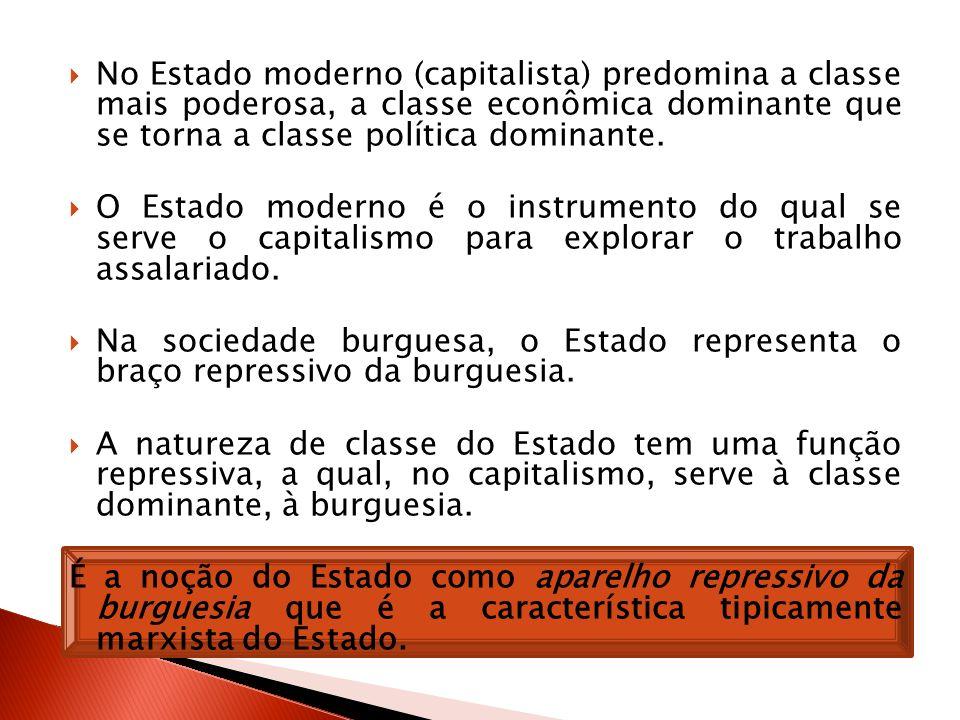 No Estado moderno (capitalista) predomina a classe mais poderosa, a classe econômica dominante que se torna a classe política dominante. O Estado mode