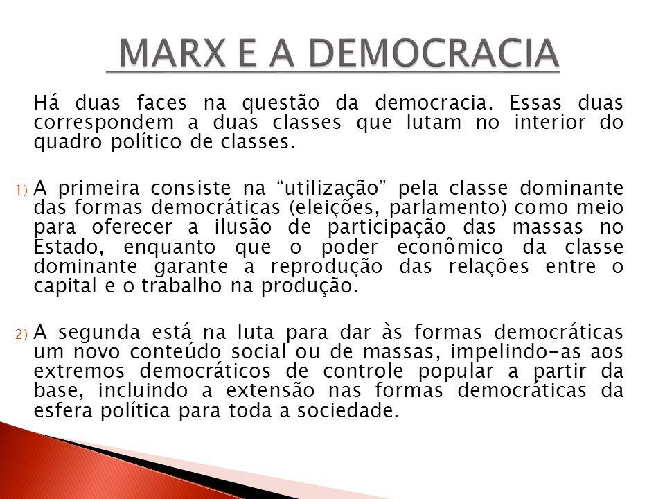 Há duas faces na questão da democracia. Essas duas correspondem a duas classes que lutam no interior do quadro político de classes. 1) A primeira cons