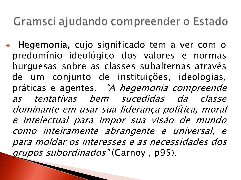 Hegemonia, cujo significado tem a ver com o predomínio ideológico dos valores e normas burguesas sobre as classes subalternas através de um conjunto d