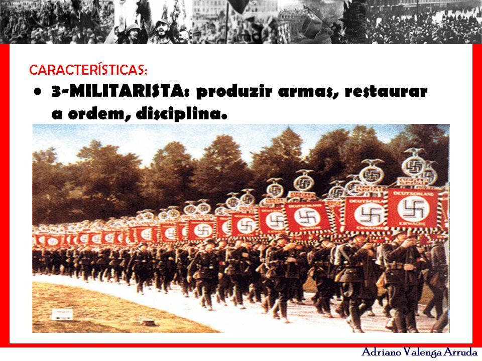 Adriano Valenga Arruda CARACTERÍSTICAS: 3-MILITARISTA: produzir armas, restaurar a ordem, disciplina.