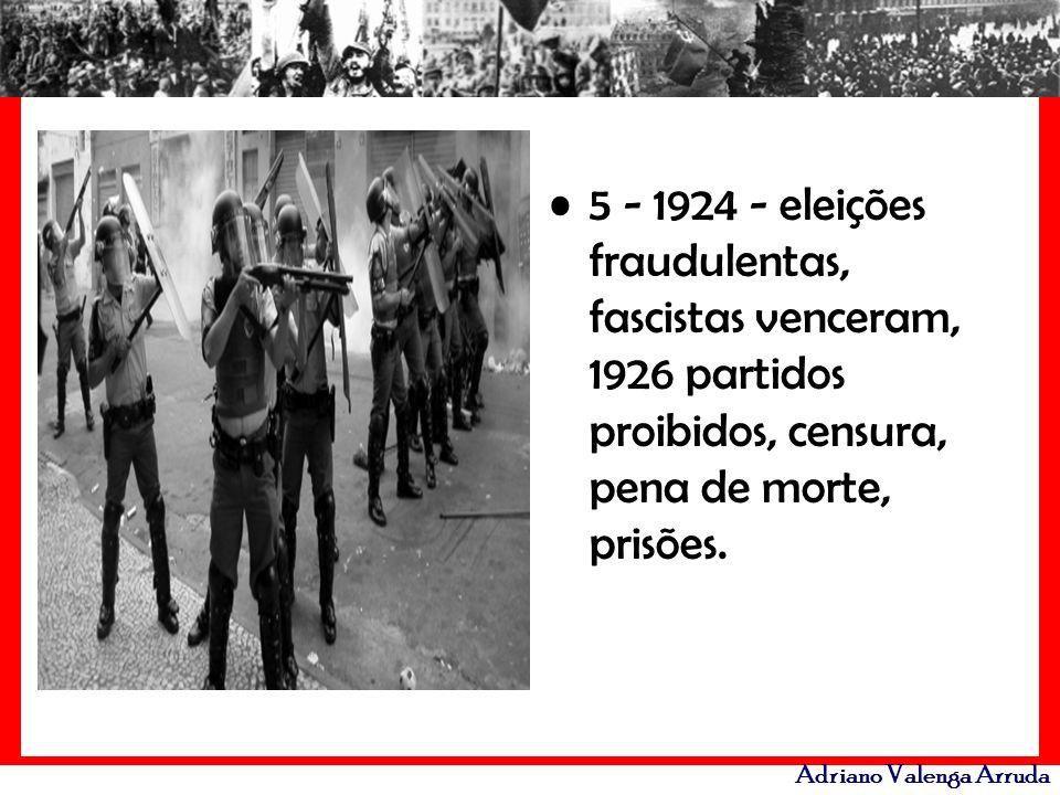 Adriano Valenga Arruda 5 - 1924 - eleições fraudulentas, fascistas venceram, 1926 partidos proibidos, censura, pena de morte, prisões.