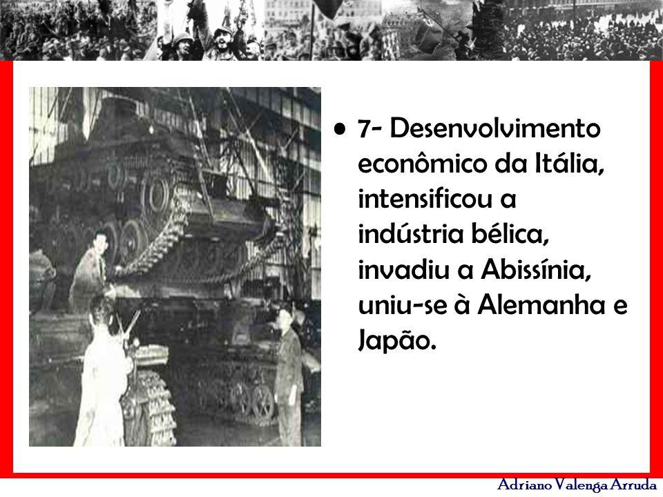 Adriano Valenga Arruda 7- Desenvolvimento econômico da Itália, intensificou a indústria bélica, invadiu a Abissínia, uniu-se à Alemanha e Japão.