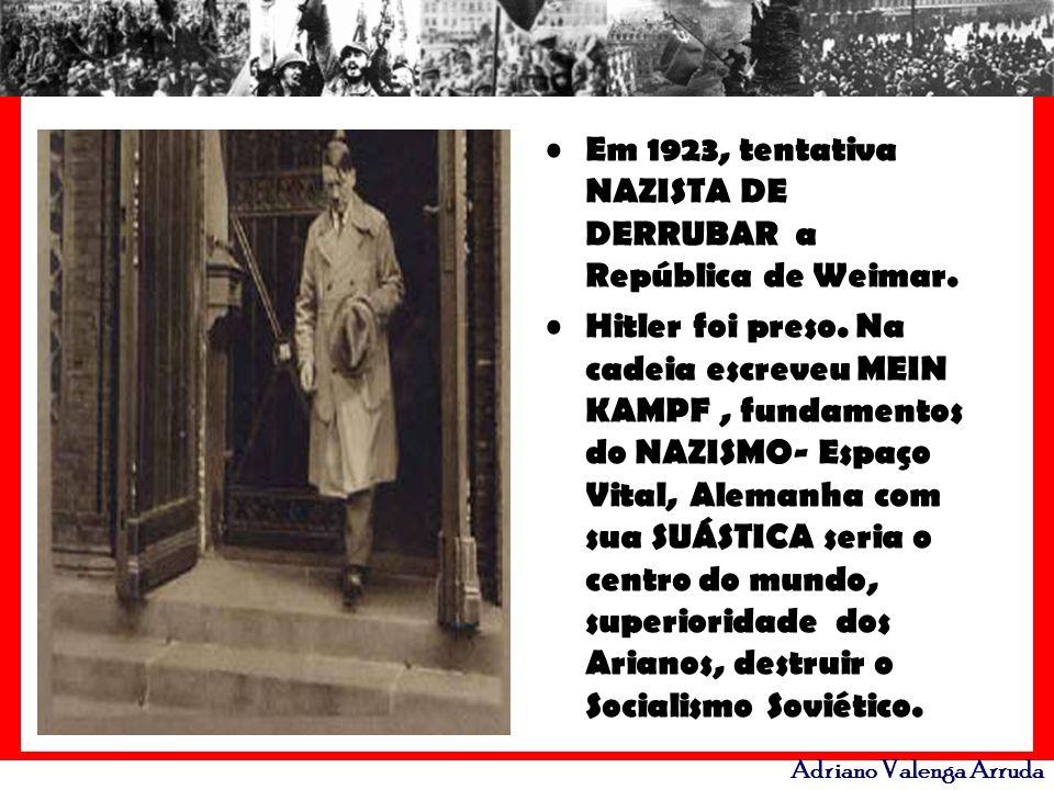 Adriano Valenga Arruda Em 1923, tentativa NAZISTA DE DERRUBAR a República de Weimar. Hitler foi preso. Na cadeia escreveu MEIN KAMPF, fundamentos do N