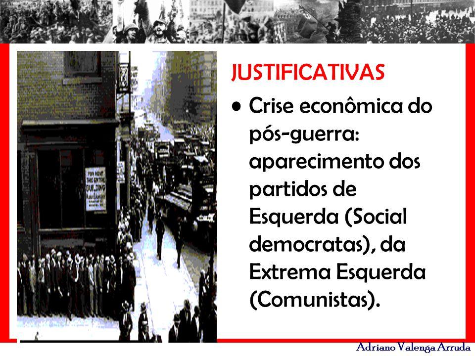 Adriano Valenga Arruda JUSTIFICATIVAS Crise econômica do pós-guerra: aparecimento dos partidos de Esquerda (Social democratas), da Extrema Esquerda (C