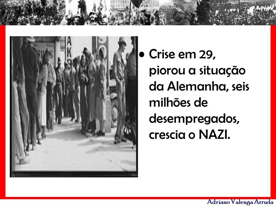 Adriano Valenga Arruda Crise em 29, piorou a situação da Alemanha, seis milhões de desempregados, crescia o NAZI.