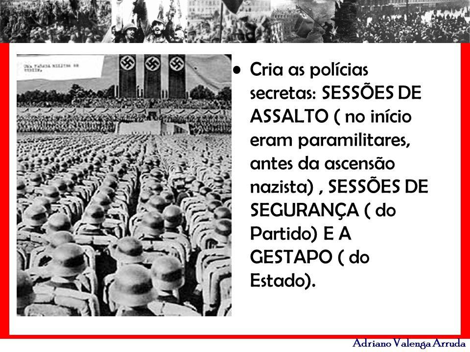 Adriano Valenga Arruda Cria as polícias secretas: SESSÕES DE ASSALTO ( no início eram paramilitares, antes da ascensão nazista), SESSÕES DE SEGURANÇA