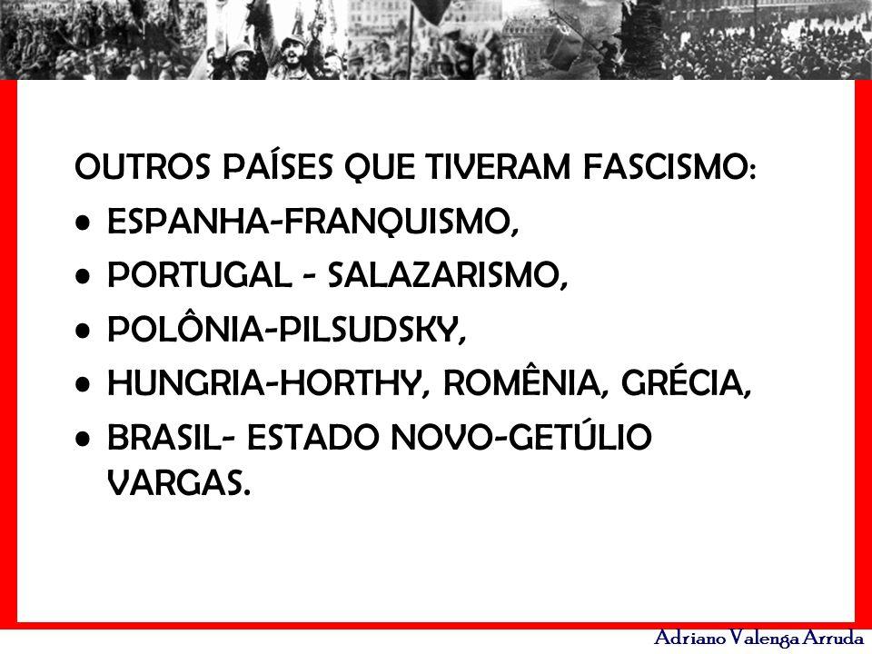 Adriano Valenga Arruda OUTROS PAÍSES QUE TIVERAM FASCISMO: ESPANHA-FRANQUISMO, PORTUGAL - SALAZARISMO, POLÔNIA-PILSUDSKY, HUNGRIA-HORTHY, ROMÊNIA, GRÉ