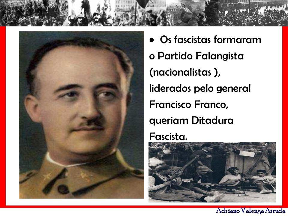 Os fascistas formaram o Partido Falangista (nacionalistas ), liderados pelo general Francisco Franco, queriam Ditadura Fascista.