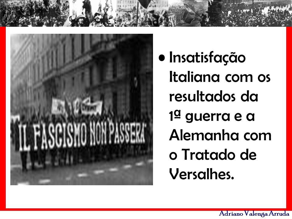 Adriano Valenga Arruda Insatisfação Italiana com os resultados da 1ª guerra e a Alemanha com o Tratado de Versalhes.