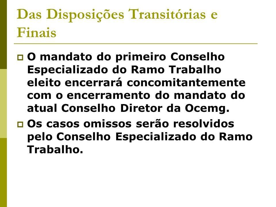 Das Disposições Transitórias e Finais O mandato do primeiro Conselho Especializado do Ramo Trabalho eleito encerrará concomitantemente com o encerramento do mandato do atual Conselho Diretor da Ocemg.