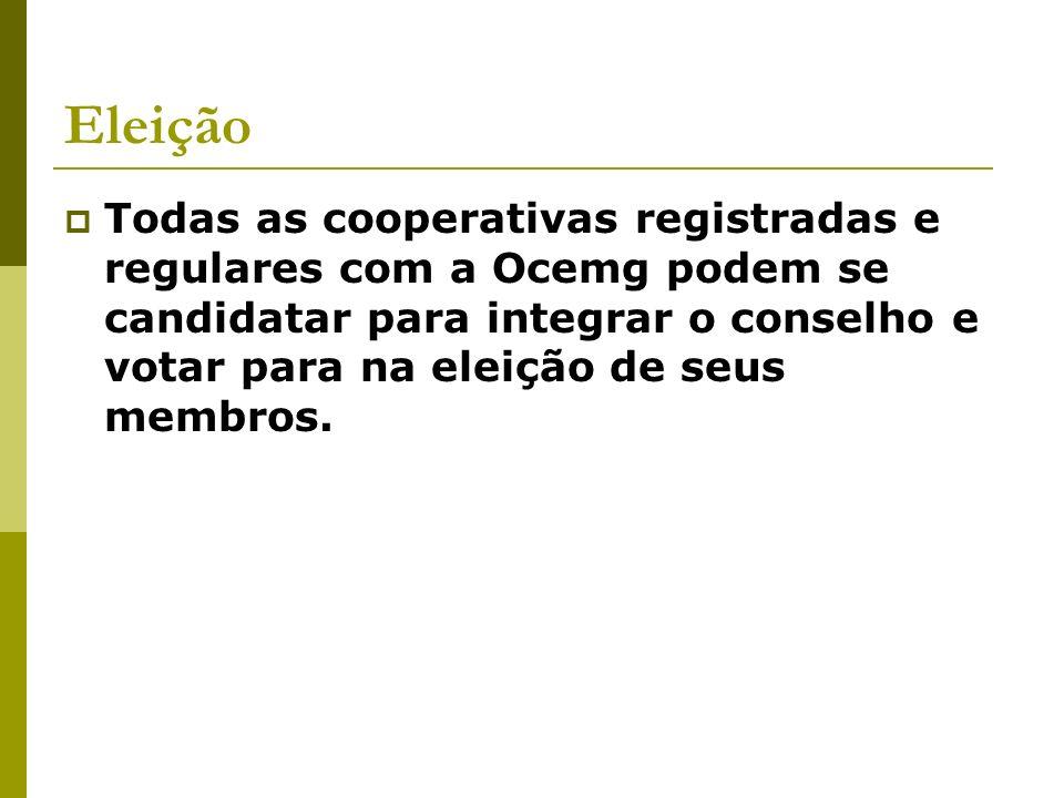Eleição Todas as cooperativas registradas e regulares com a Ocemg podem se candidatar para integrar o conselho e votar para na eleição de seus membros.
