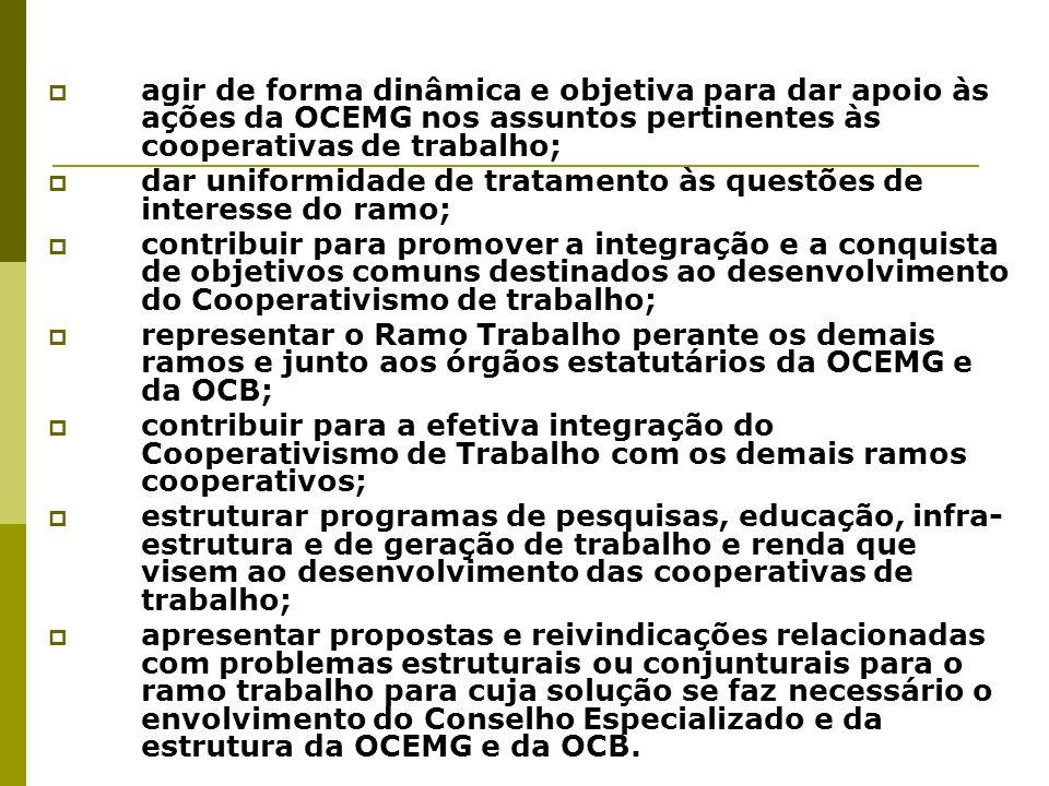 Da Composição e Mandato O Conselho Especializado do Ramo Trabalho será integrado por 07 (sete) representantes das cooperativas do ramo, eleitos em reunião plenária estadual das cooperativas do ramo, convocada para tal finalidade.