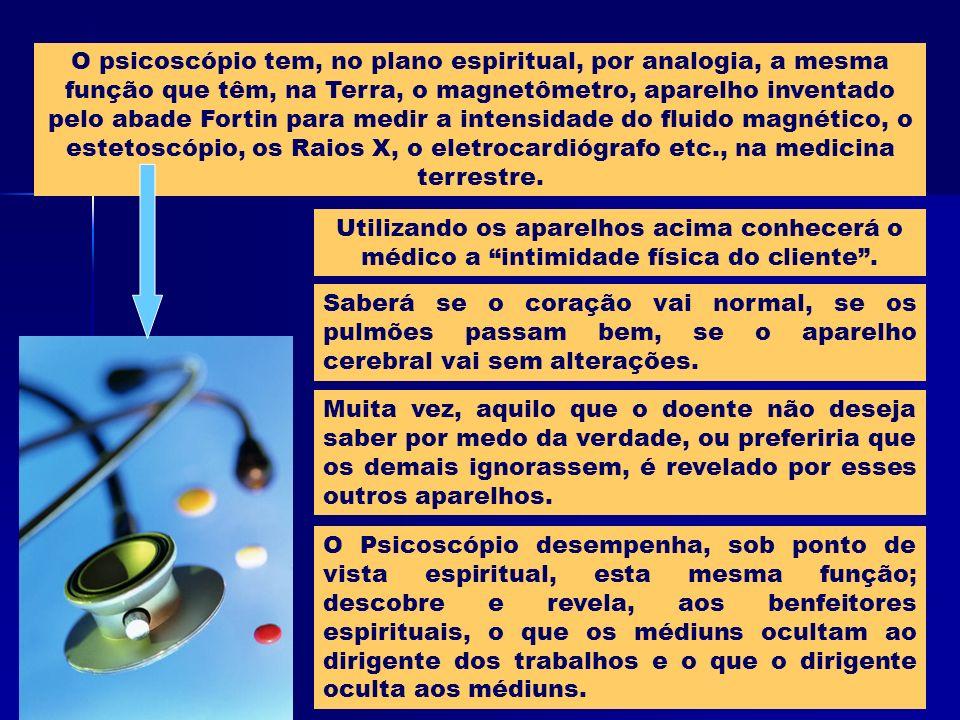 O psicoscópio tem, no plano espiritual, por analogia, a mesma função que têm, na Terra, o magnetômetro, aparelho inventado pelo abade Fortin para medi