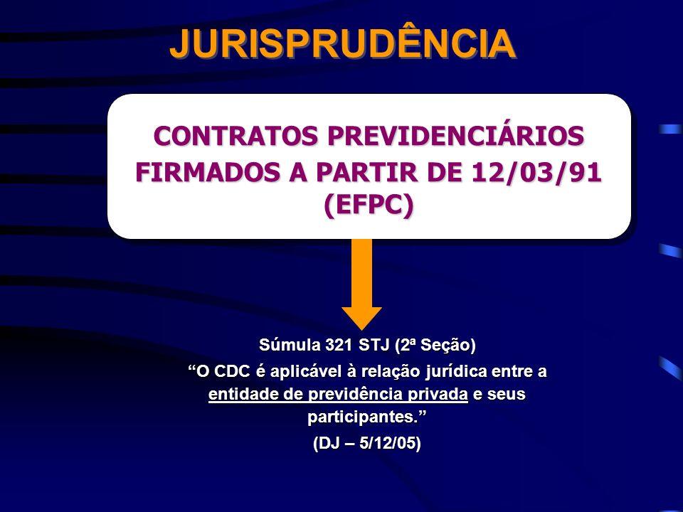 JURISPRUDÊNCIA Súmula 321 STJ (2ª Seção) O CDC é aplicável à relação jurídica entre a entidade de previdência privada e seus participantes. (DJ – 5/12