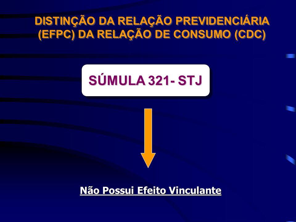 DISTINÇÃO DA RELAÇÃO PREVIDENCIÁRIA (EFPC) DA RELAÇÃO DE CONSUMO (CDC) SÚMULA 321- STJ Não Possui Efeito Vinculante
