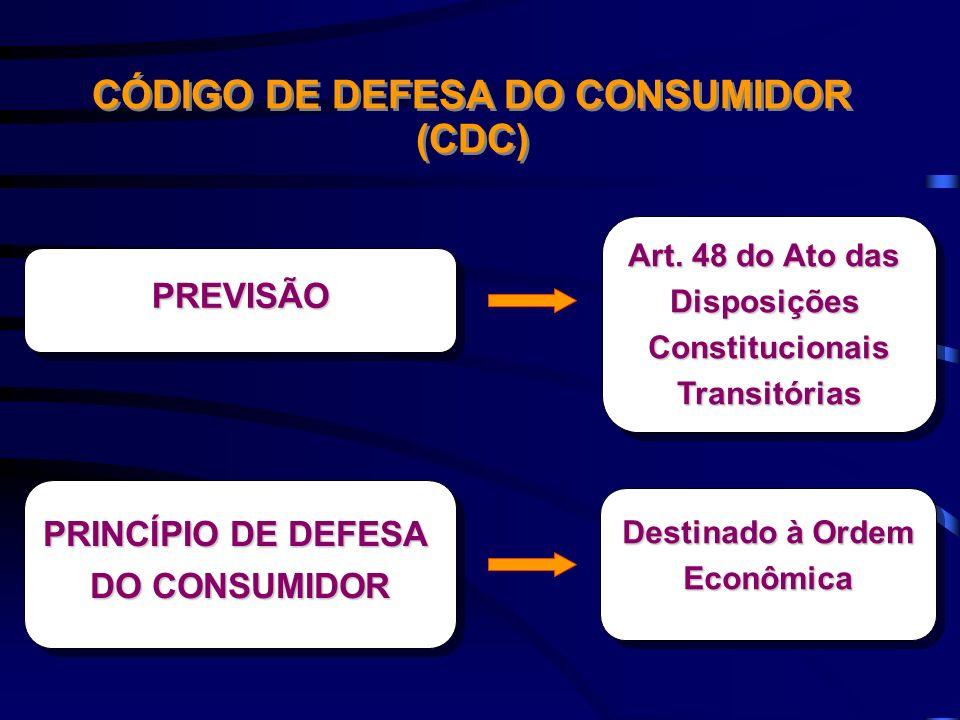 CÓDIGO DE DEFESA DO CONSUMIDOR (CDC) PREVISÃOPREVISÃO Art. 48 do Ato das DisposiçõesConstitucionaisTransitórias DisposiçõesConstitucionaisTransitórias