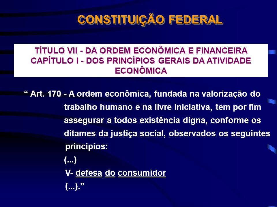 CONSTITUIÇÃO FEDERAL TÍTULO VII - DA ORDEM ECONÔMICA E FINANCEIRA CAPÍTULO I - DOS PRINCÍPIOS GERAIS DA ATIVIDADE ECONÔMICA Art. 170 - A ordem econômi
