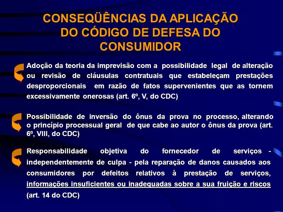 CONSEQÜÊNCIAS DA APLICAÇÃO DO CÓDIGO DE DEFESA DO CONSUMIDOR Adoção da teoria da imprevisão com a possibilidade legal de alteração ou revisão de cláus