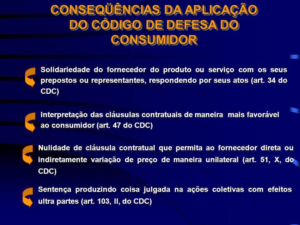 CONSEQÜÊNCIAS DA APLICAÇÃO DO CÓDIGO DE DEFESA DO CONSUMIDOR Interpretação das cláusulas contratuais de maneira mais favorável ao consumidor (art. 47