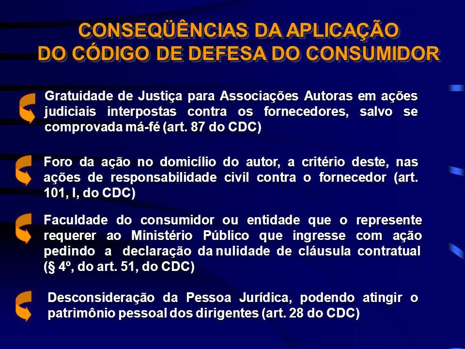 CONSEQÜÊNCIAS DA APLICAÇÃO DO CÓDIGO DE DEFESA DO CONSUMIDOR Gratuidade de Justiça para Associações Autoras em ações judiciais interpostas contra os f