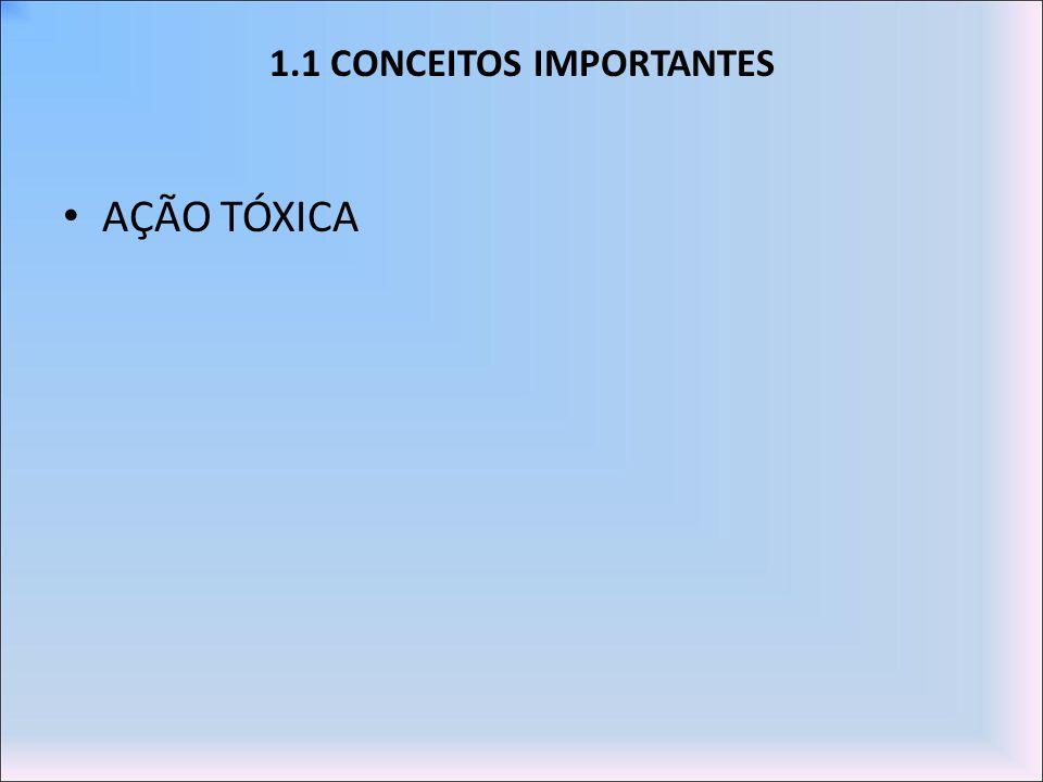 1.1 CONCEITOS IMPORTANTES AÇÃO TÓXICA