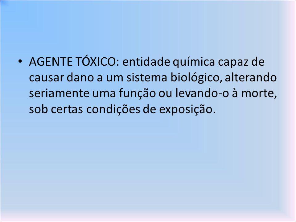 AGENTE TÓXICO: entidade química capaz de causar dano a um sistema biológico, alterando seriamente uma função ou levando-o à morte, sob certas condiçõe