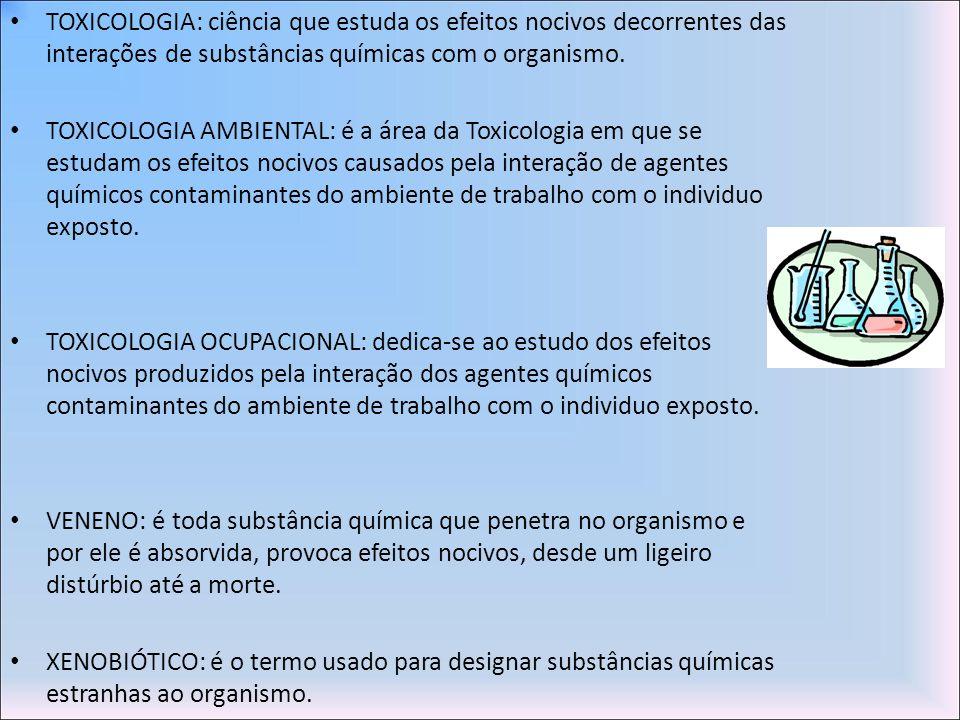 TOXICOLOGIA: ciência que estuda os efeitos nocivos decorrentes das interações de substâncias químicas com o organismo. TOXICOLOGIA AMBIENTAL: é a área