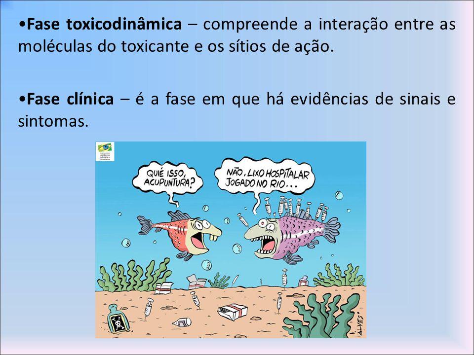 Fase toxicodinâmica – compreende a interação entre as moléculas do toxicante e os sítios de ação. Fase clínica – é a fase em que há evidências de sina