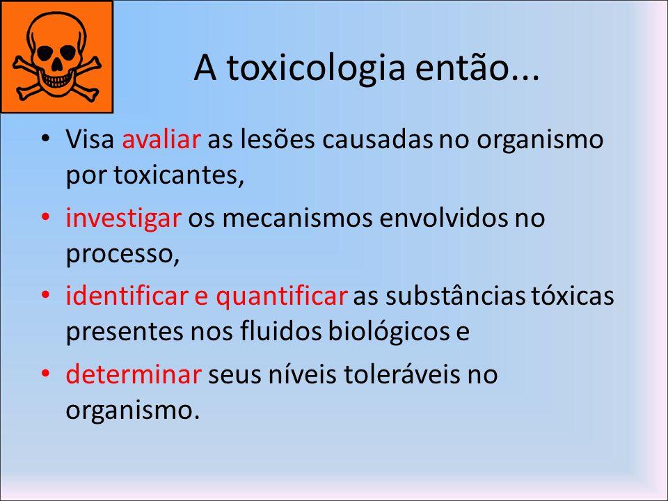 A toxicologia então... Visa avaliar as lesões causadas no organismo por toxicantes, investigar os mecanismos envolvidos no processo, identificar e qua