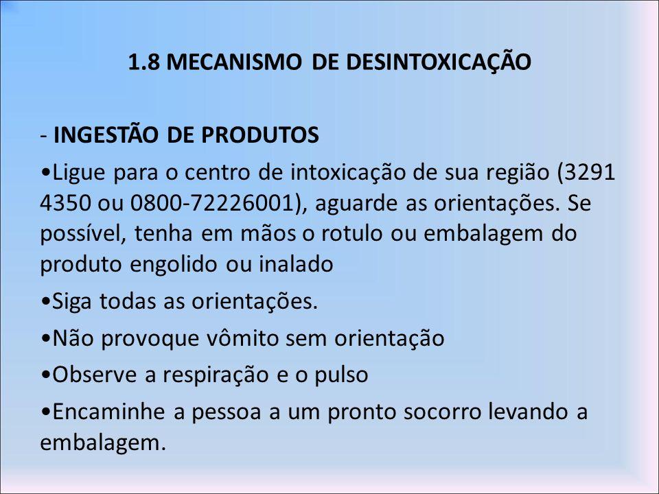 1.8 MECANISMO DE DESINTOXICAÇÃO - INGESTÃO DE PRODUTOS Ligue para o centro de intoxicação de sua região (3291 4350 ou 0800-72226001), aguarde as orien
