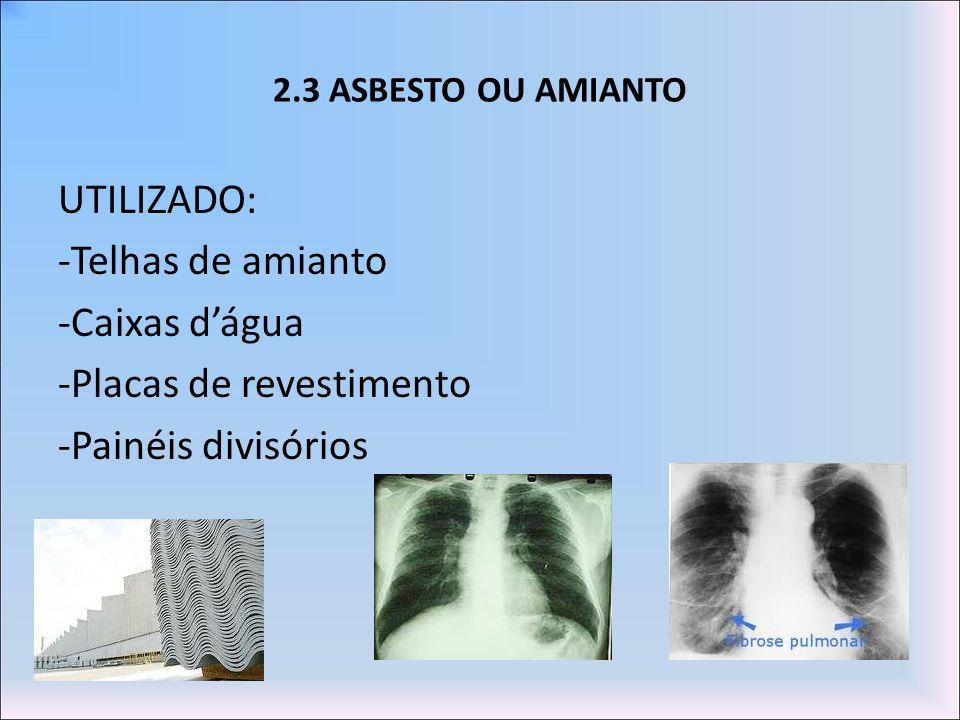 2.3 ASBESTO OU AMIANTO UTILIZADO: -Telhas de amianto -Caixas dágua -Placas de revestimento -Painéis divisórios