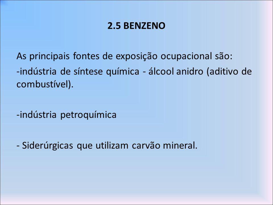 2.5 BENZENO As principais fontes de exposição ocupacional são: -indústria de síntese química - álcool anidro (aditivo de combustível). -indústria petr