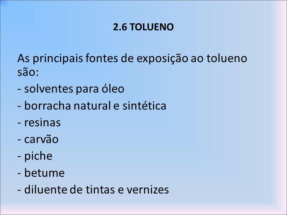 2.6 TOLUENO As principais fontes de exposição ao tolueno são: - solventes para óleo - borracha natural e sintética - resinas - carvão - piche - betume