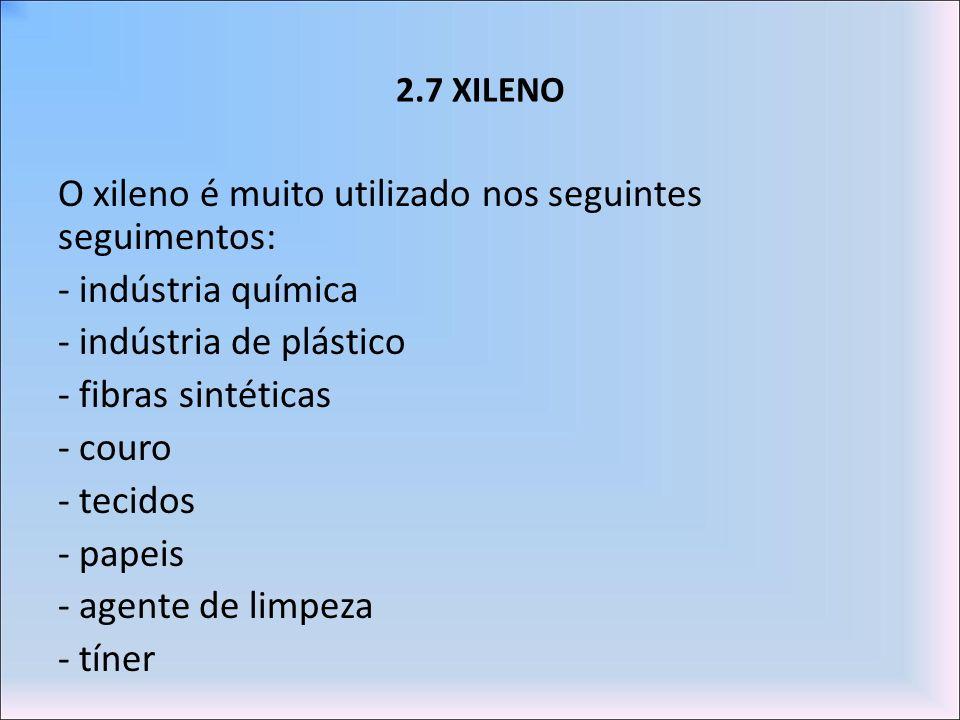 2.7 XILENO O xileno é muito utilizado nos seguintes seguimentos: - indústria química - indústria de plástico - fibras sintéticas - couro - tecidos - p
