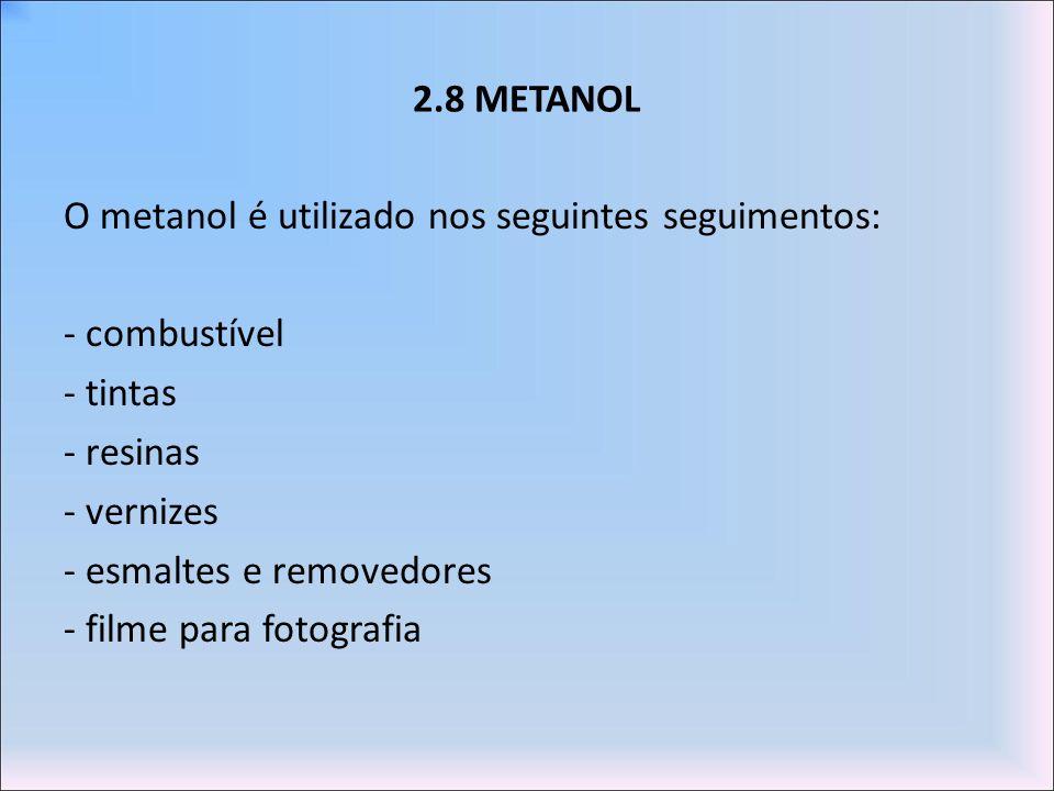 2.8 METANOL O metanol é utilizado nos seguintes seguimentos: - combustível - tintas - resinas - vernizes - esmaltes e removedores - filme para fotogra