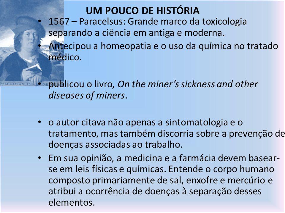 UM POUCO DE HISTÓRIA 1567 – Paracelsus: Grande marco da toxicologia separando a ciência em antiga e moderna. Antecipou a homeopatia e o uso da química