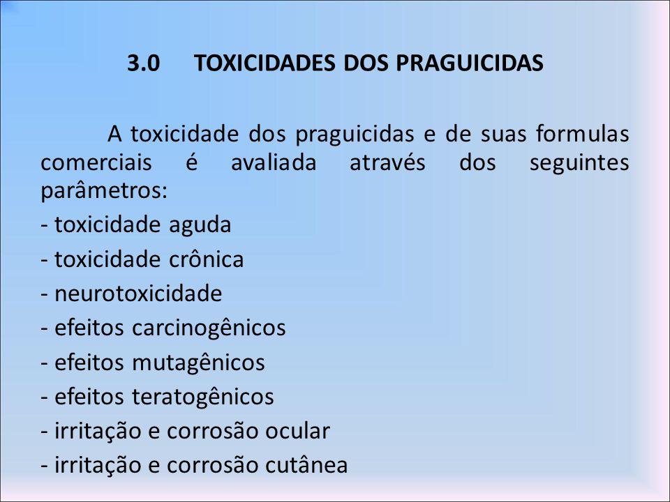 3.0TOXICIDADES DOS PRAGUICIDAS A toxicidade dos praguicidas e de suas formulas comerciais é avaliada através dos seguintes parâmetros: - toxicidade ag