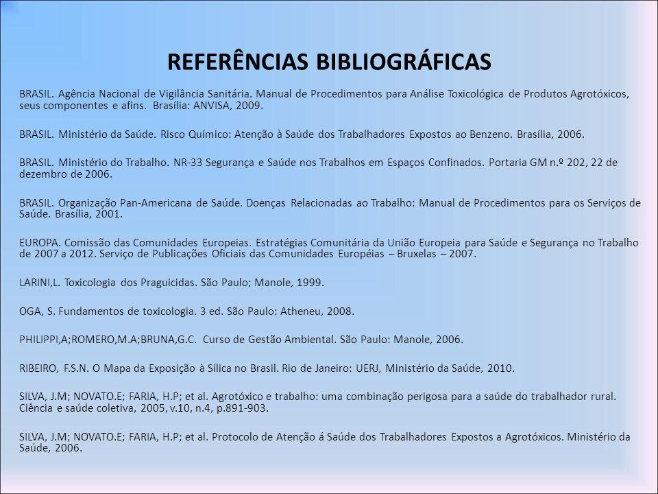 REFERÊNCIAS BIBLIOGRÁFICAS BRASIL. Agência Nacional de Vigilância Sanitária. Manual de Procedimentos para Análise Toxicológica de Produtos Agrotóxicos