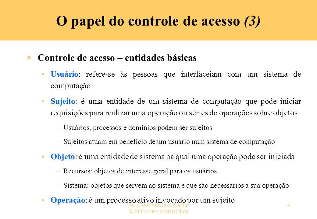 ©2002-2004 Matt Bishop (C) 2005 Gustavo Motta5 O papel do controle de acesso (4) Monitor de referência (1) Definição intermedeiatodassujeitoacessar objetooperação –Um monitor de referência é um conceito de controle de acesso de uma máquina virtual abstrata que intermedeia todas as tentativas de um sujeito acessar um objeto para executar uma operação (ANDERSON, 1972) O monitor consulta um banco de dados de autorização para decidir se o sujeito tem permissão para executar a operação no objeto ou não propriedades necessáriasModelo abstrato das propriedades necessárias para se alcançar um mecanismo de controle de acesso com alta garantia Usado como guia para o projeto, o desenvolvimento, a implementação e a análise subseqüente da segurança de sistemas de informação