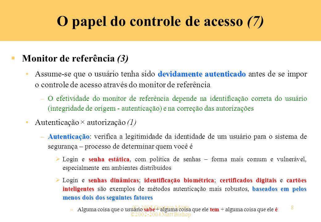 ©2002-2004 Matt Bishop (C) 2005 Gustavo Motta8 O papel do controle de acesso (7) Monitor de referência (3) devidamente autenticadoAssume-se que o usuá