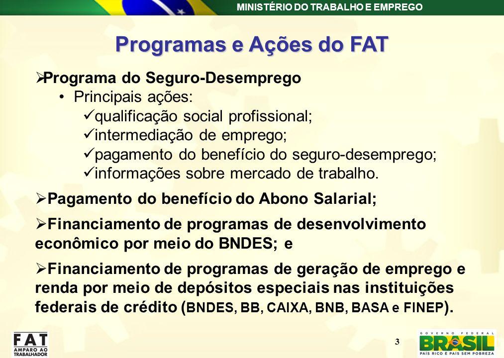 MINISTÉRIO DO TRABALHO E EMPREGO Programas e Ações do FAT Programa do Seguro-Desemprego Principais ações: qualificação social profissional; intermedia