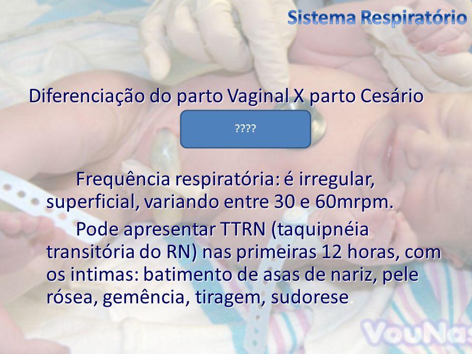 Diferenciação do parto Vaginal X parto Cesário Frequência respiratória: é irregular, superficial, variando entre 30 e 60mrpm. Pode apresentar TTRN (ta
