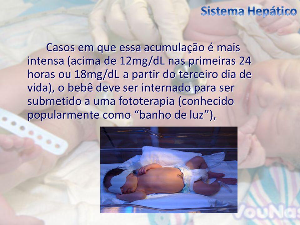 Casos em que essa acumulação é mais intensa (acima de 12mg/dL nas primeiras 24 horas ou 18mg/dL a partir do terceiro dia de vida), o bebê deve ser int