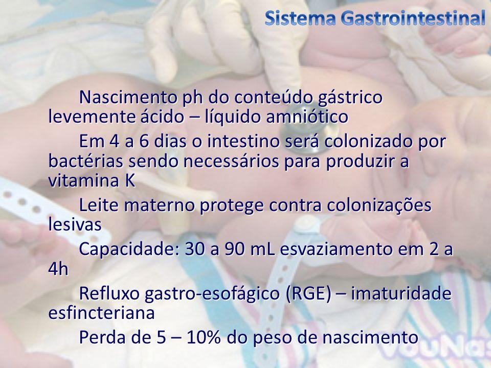 Nascimento ph do conteúdo gástrico levemente ácido – líquido amniótico Em 4 a 6 dias o intestino será colonizado por bactérias sendo necessários para
