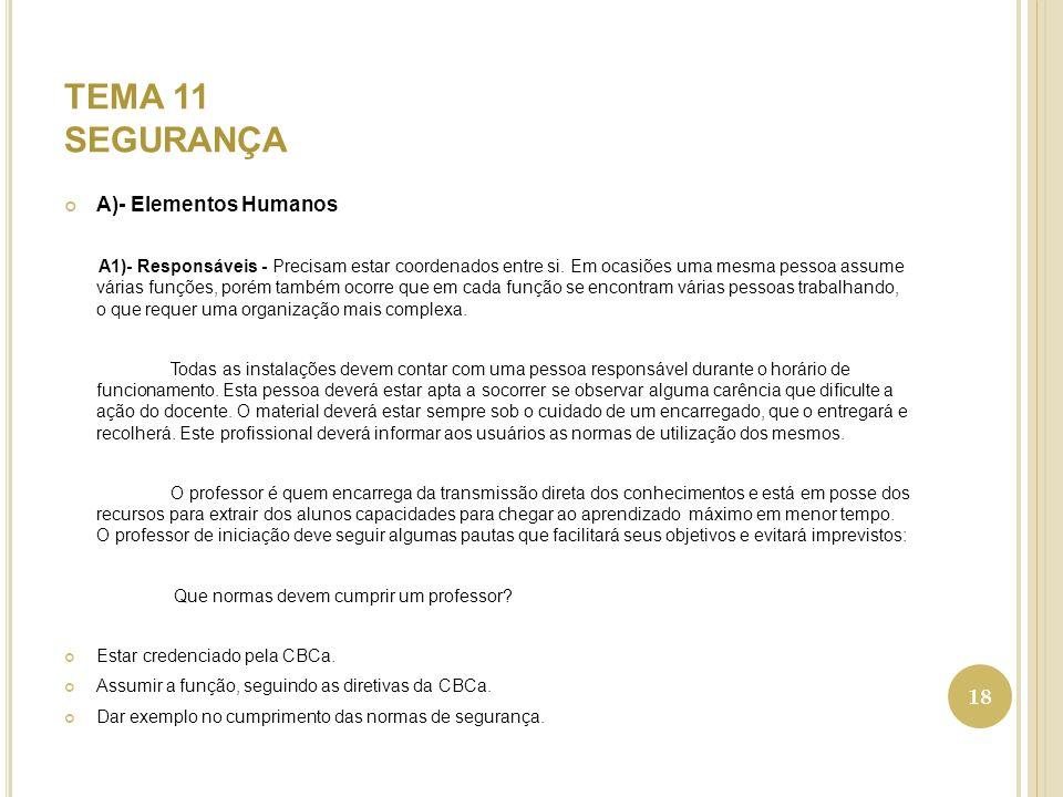 TEMA 11 SEGURANÇA A)- Elementos Humanos A1)- Responsáveis - Precisam estar coordenados entre si.