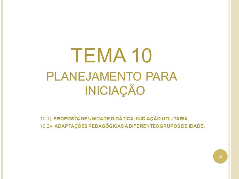TEMA 10 PLANEJAMENTO PARA INICIAÇÃO 10.1)- PROPOSTA DE UNIDADE DIDÁTICA: INICIAÇÃO UTILITÁRIA; 10.2)- ADAPTAÇÕES PEDAGÓGICAS A DIFERENTES GRUPOS DE IDADE.