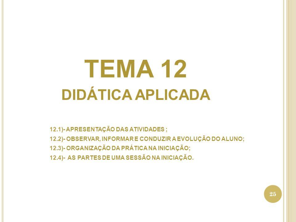 TEMA 12 DIDÁTICA APLICADA 12.1)- APRESENTAÇÃO DAS ATIVIDADES ; 12.2)- OBSERVAR, INFORMAR E CONDUZIR A EVOLUÇÃO DO ALUNO; 12.3)- ORGANIZAÇÃO DA PRÁTICA NA INICIAÇÃO; 12.4)- AS PARTES DE UMA SESSÃO NA INICIAÇÃO.