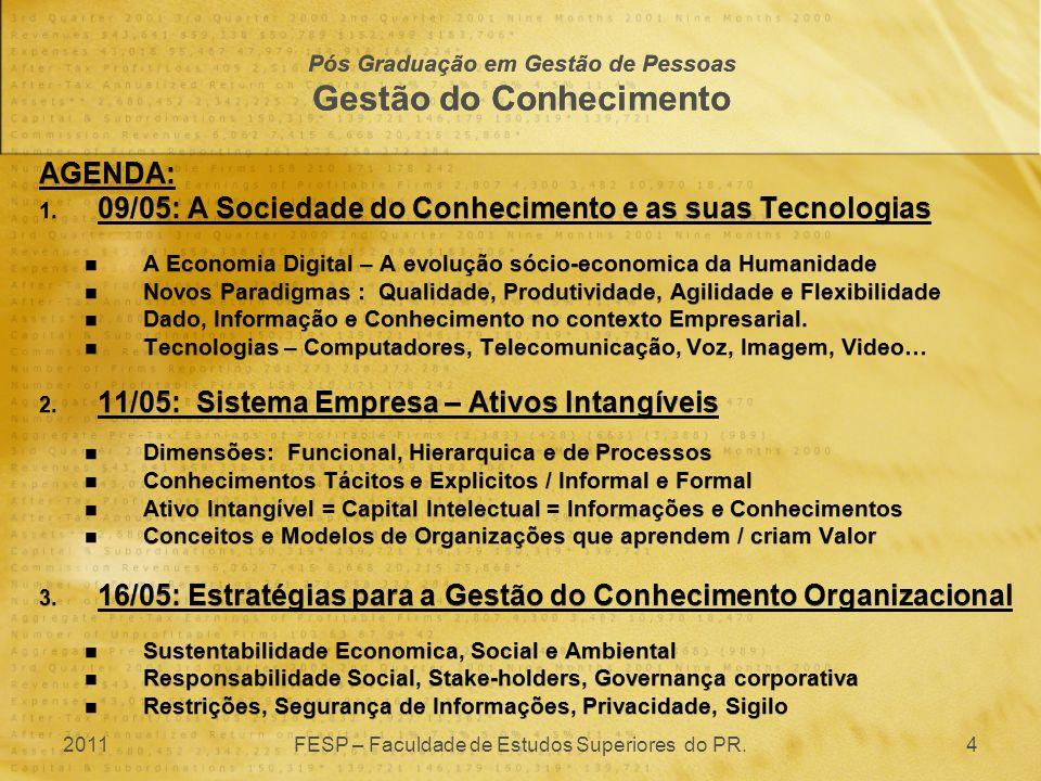 AGENDA: 1. 09/05: A Sociedade do Conhecimento e as suas Tecnologias A Economia Digital – A evolução sócio-economica da Humanidade Novos Paradigmas : Q